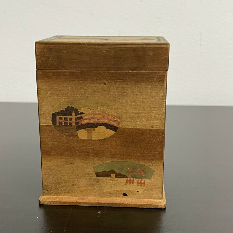 Wooden Japanese Marquetry Playing Card Box Vintage Asian Landscape Decor