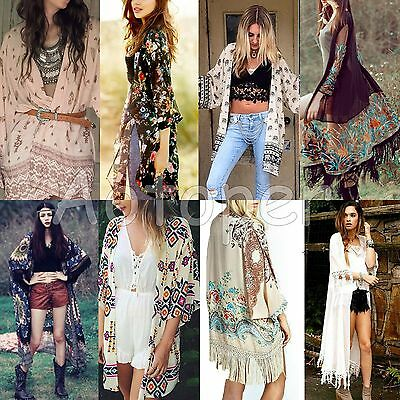 Fashion Women's Loose Blouse Summer Boho Chiffon Coat Shawl Kimono Cardigan Tops