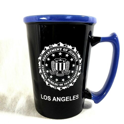 Department Of Justice FBI Seal Los Angeles Coffee Mug Large Handle Black Blue