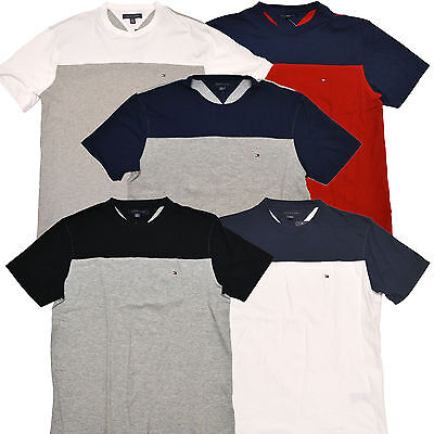 Classic Fit Logo T-shirt - Tommy Hilfiger T-Shirt Mens Solid Color Block Classic Fit Casual Logo Tee New
