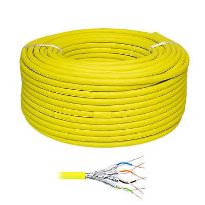 50m CAT.7 Cat7 Verlegekabel gelb SFTP Netzwerkkabel PIMF Gigabit 10Gbit Kupfer