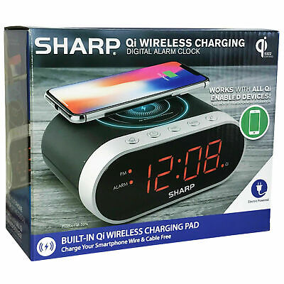 Sharp Qi WIRELESS CHARGING DIGITAL ALARM CLOCK smartphone charger Large display