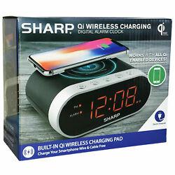 Sharp Qi WIRELESS CHARGING DIGITAL ALARM CLOCK smartphone charger Large display