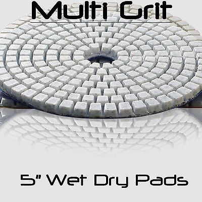 5 Inch Wet Dry Diamond Polishing Sanding Pads Discs Granite Concrete Glass Stone