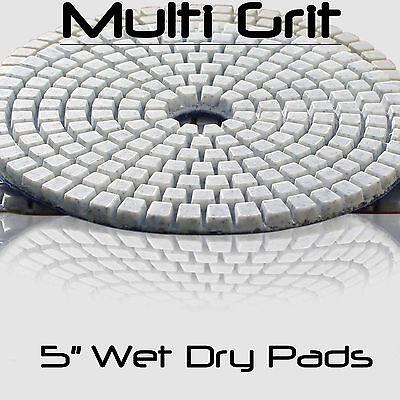 5 Inch Wet Dry Diamond Polishing Sanding Pads Discs Granite Concrete Glass (Glasses Polishing)