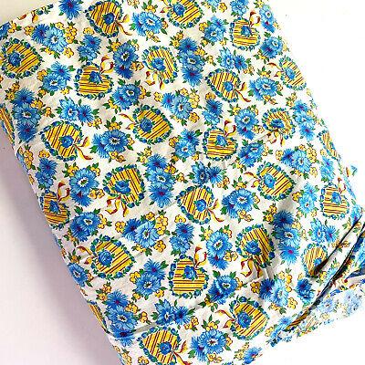 Vintage 1980s Blue White Cotton Small Floral Print Dress Quilt Fabric