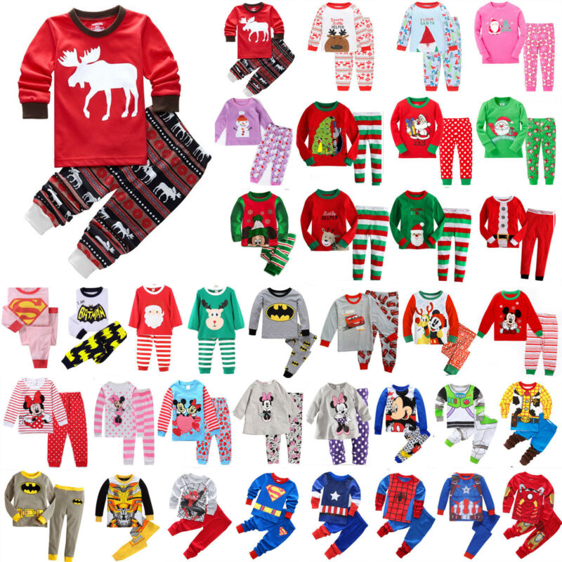 Jungen Mädchen Langarm Pyjama Pjs Set Nachtwäsche Schlafanzug Kinder Xmas Outfit