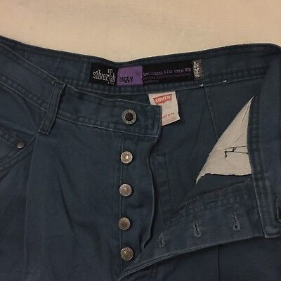 Vintage Teal Denim Jeans Womans Levis SilverTab Jeans 13/14 Straight Leg