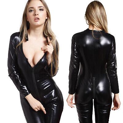 Erwachsene Catsuit Wetlook Overall Zipper Bodysuit Ganzanzug Damenkostüm - Damen Bodysuit Kostüme