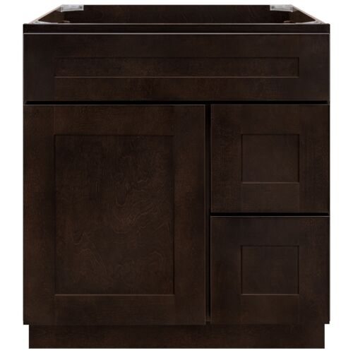 """30"""" Vanity Sink Base Cabinet with Right Drawers Espresso Shaker by LessCare"""