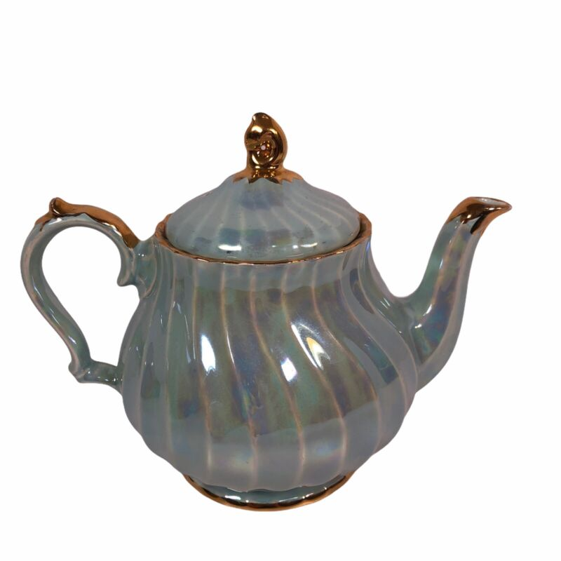 Sadler England Teapot 2746 Irridesent Scalloped Blue Gold