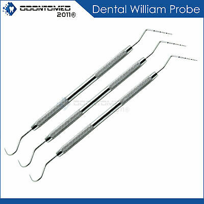 3 Pieces Perio Probe William Probes Color Coded Dental Periodontal Instruments