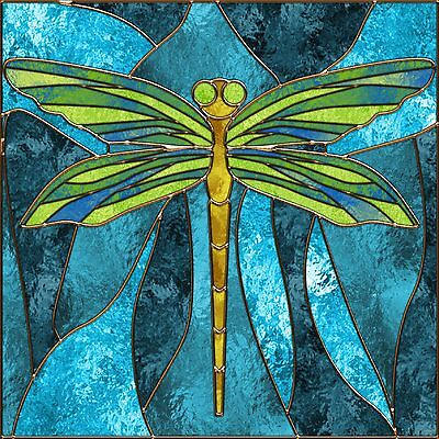 STAINED GLASS DRAGONFLY IMAGE COASTERS SET OF 4 FABRIC TOP / RUBBER BACKED (Dragonfly Coaster Set)
