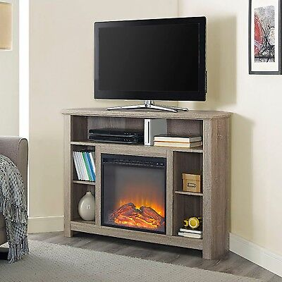 """Corner Fireplace TV Stand RUSTIC Storage Cabinet Electric Space Heater Up To 60"""""""