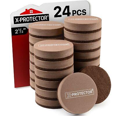 Felt Furniture Sliders for Hardwood Floors by X-PROTECTOR 24 PCS - Brown