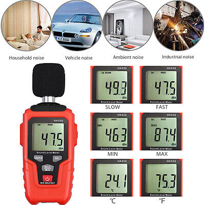 Digital Sound Level Meter 35-135dba Decibel Noise Measurement W Lcd Backlight