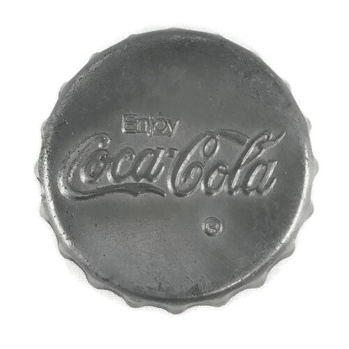 Vintage Enjoy Coca Cola Desk Paperweight Ashtray Bottle Cap Shaped Gray Metal