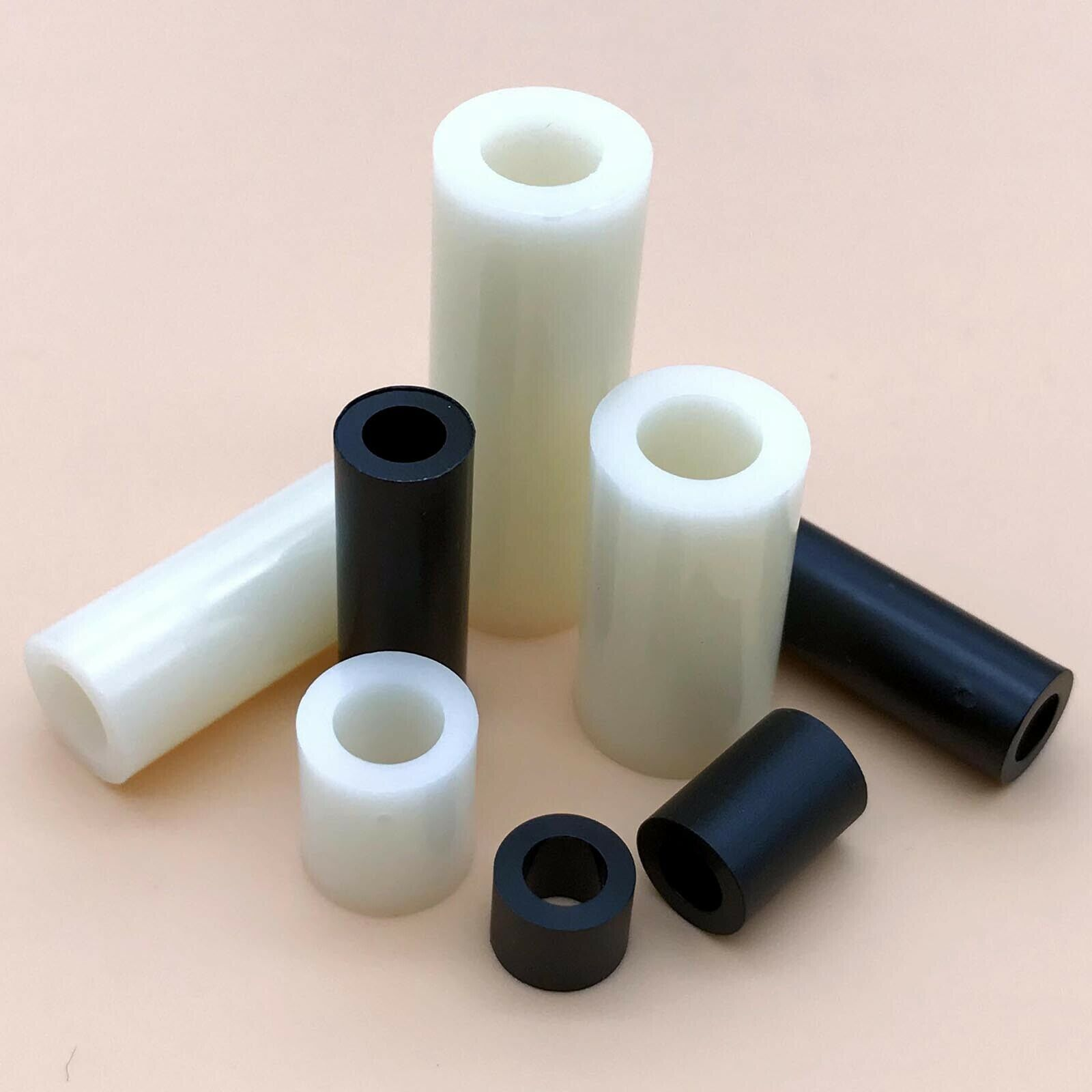 ID 3.2mm for M3 Screws Not Threaded 100PCS 11mm Black Nylon Round Spacer OD 7mm Plastic.