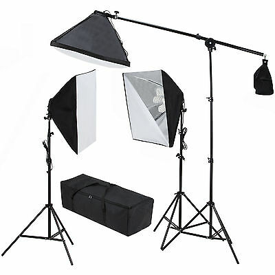 2400W Photo Studio Photography 3 Softbox Light Stand Continuous Lighting Kit