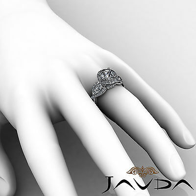3 Stone Halo Cross Shank Pave Set Round Diamond Engagement Ring GIA F SI1 2.4Ct 5