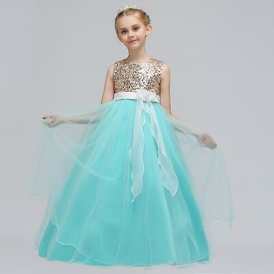 Childrens Girls 5-Layer Gold Sequined Tulle Fancy Wedding Party Dress Gown K24 - Gold Childrens Dress