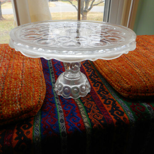 Vintage L E Smith Moon & Stars Crystal  Glass Pedestal Cake Plate Stand