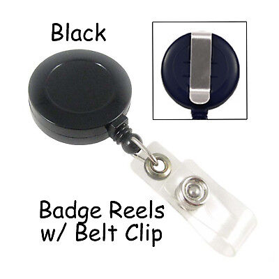 10 Id Badge Reels Lanyards - Black - Retractable With Belt Clip Plastic Strap