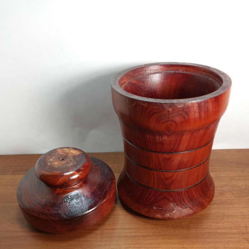 Vintage Turned Natural Wood Canister Container with Lid Handmade Woodenware