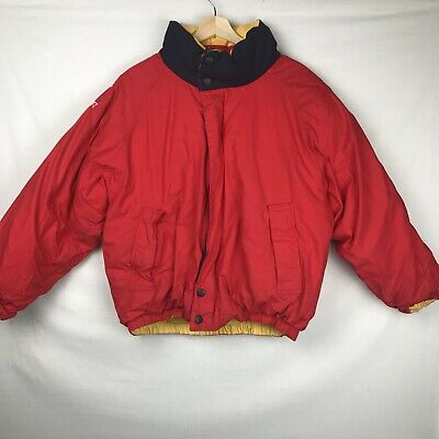 VTG Nautica Challenge Sailing Team Coat Jacket Mens S Duck Down Puffer Red