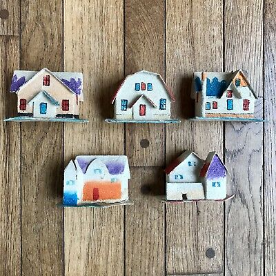 Set of 5 Vintage Putz Cardboard Christmas Houses Southwestern Glitter Japan 1950