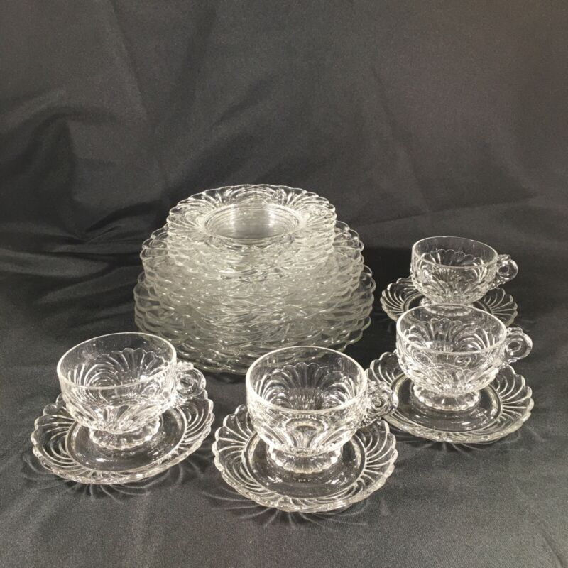 "Cambridge Caprice Clear Glass 20 pc. 9.5"" Dinner Salad Bread Cup Saucer more"