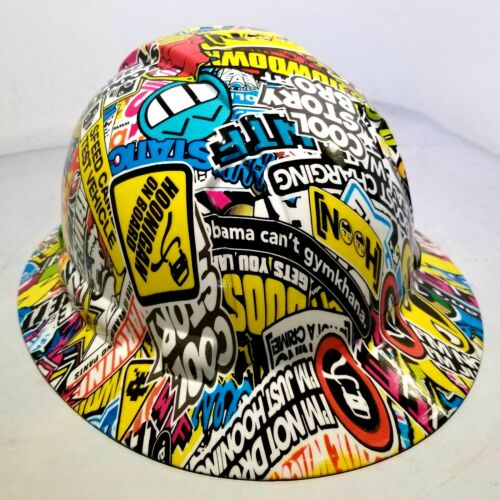 FULL BRIM Hard Hat custom hydro dipped, HOONIGAN STICKER BOMB FULL COLOR NEW 2
