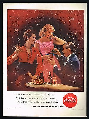 1950s BIG Original Vintage Coca-Cola Man Woman Fashion Bubble Photo Print Ad