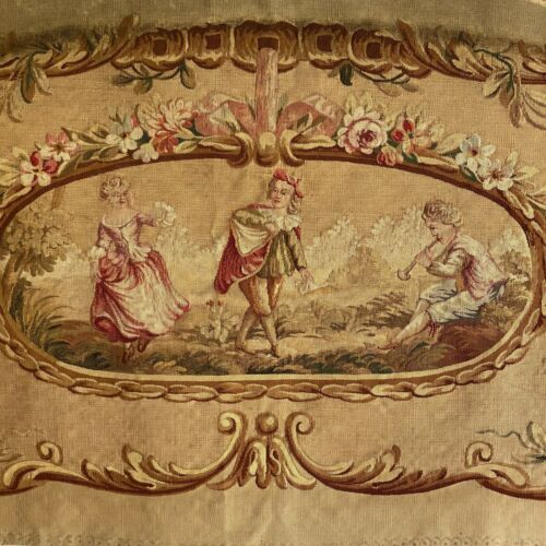 Aubusson tapestry wall hanging hand-woven 19th century