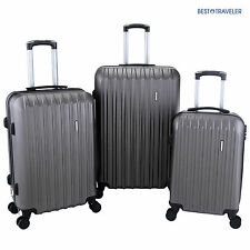 3Pcs Luggage Travel Set Bag with Lock ABS Trolley Spinner Carry On Suitcase
