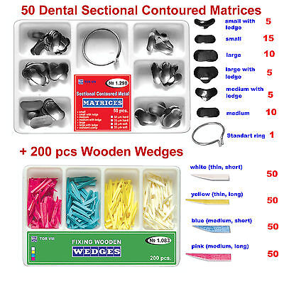 50 Dental Sectional Contoured Matrices Matrix 200 Wooden Wedges