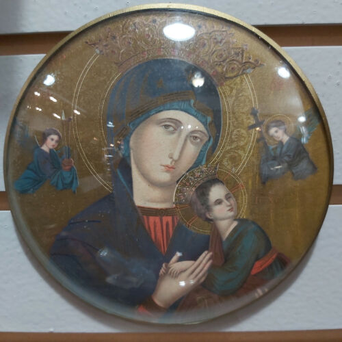 """Vintage Mary & Jesus Bubble Convex Glass Framed Picture European Orthodox 6"""""""