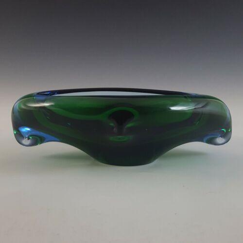 Skrdlovice Czech Green & Blue Glass Organic Sculpture Bowl