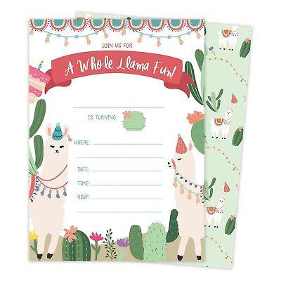 Llama Happy Birthday Invitations Invite 25ct w/ Envelopes + Seal Party