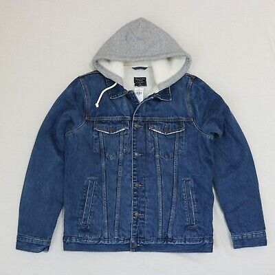 Abercrombie & Fitch Men sherpa lined Denim jeans jacket size XL new with tag