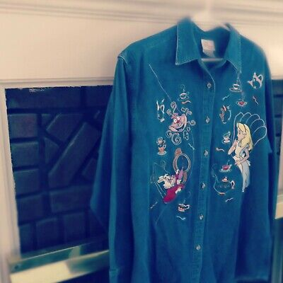 Vintage Disney's Alice In Wonderland Denim, Long Sleeve Shirt