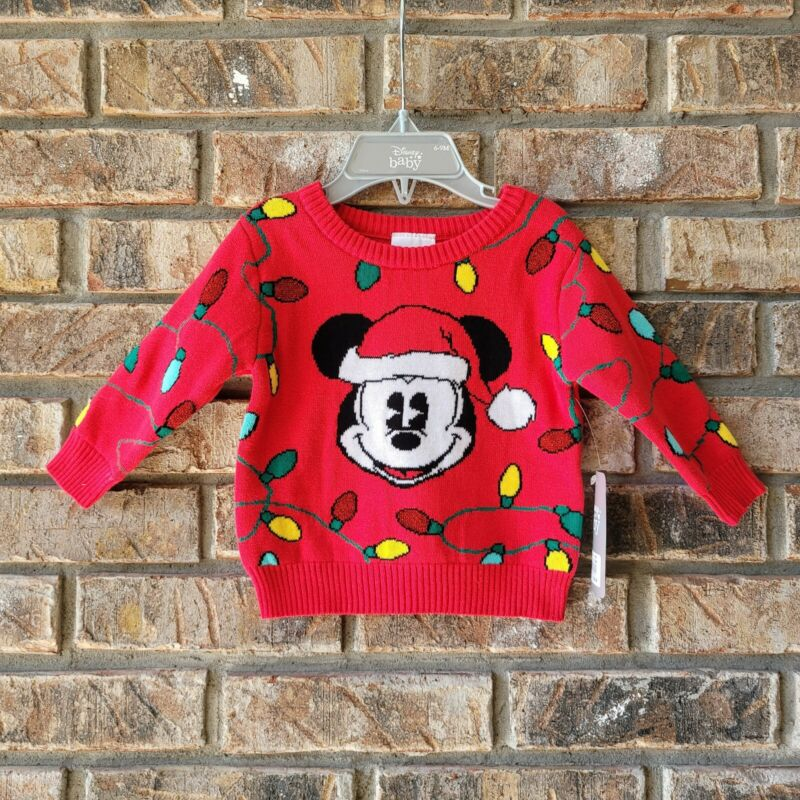 Disney Store Baby Mickey Mouse Christmas Lights Sweater Sz 6-9 Months Infant NEW