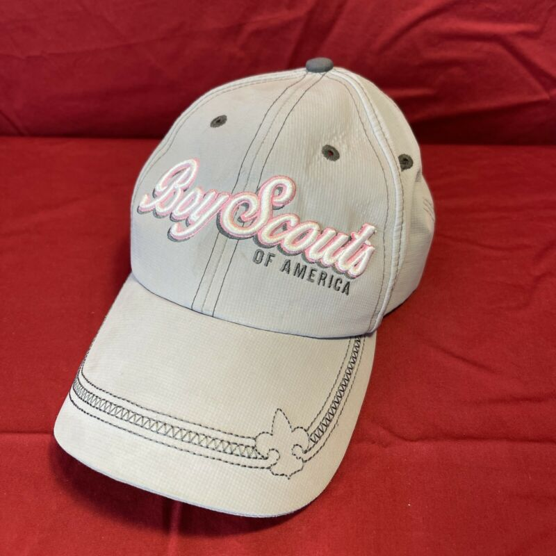 Boy Scouts of America Baseball Hat. Ladies Pink, White, Gray. Used.