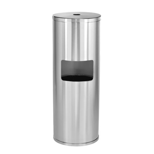 Alpine Industries Stainless Steel Fitness Cleaner Gym Wipe Dispenser & Trash Can
