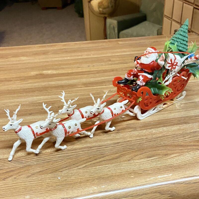 Vintage Plastic Santa Sleigh and Reindeer Christmas