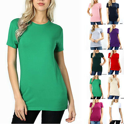 SHORT SLEEVE CREW NECK Basic Women T-Shirt Cotton Long Top Fitted Plain Stretch](Top Deals)