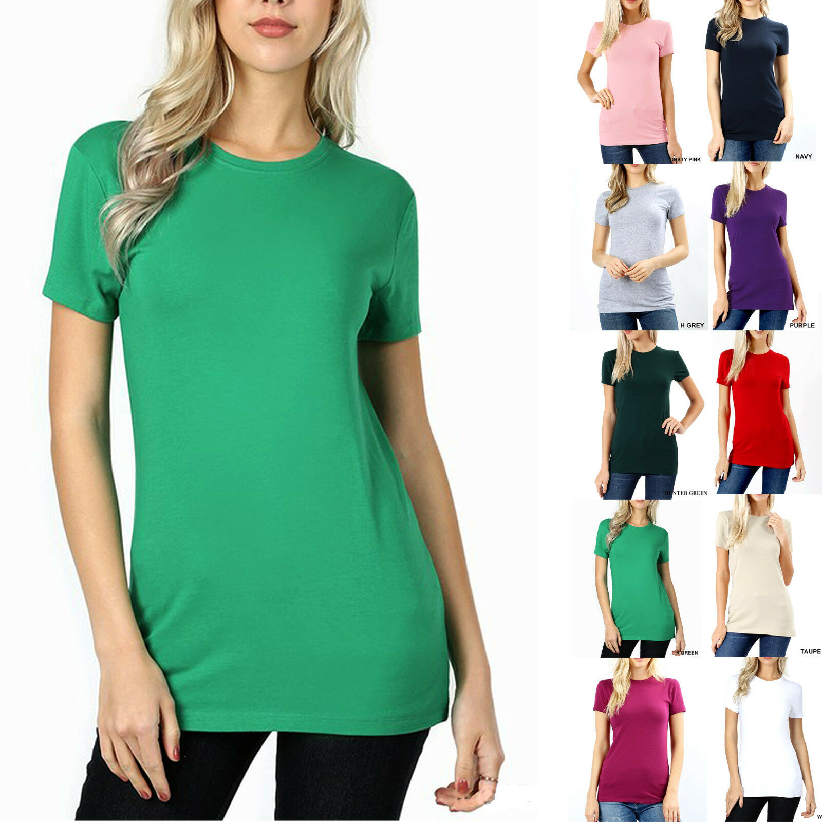 short sleeve crew neck basic women t