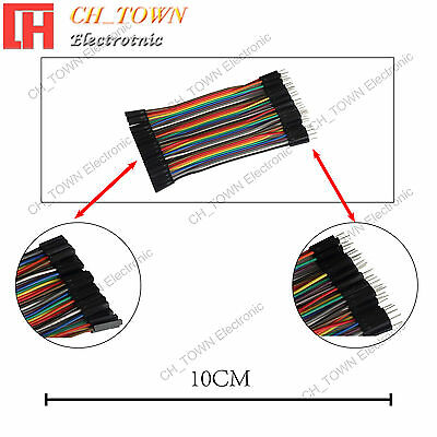 40pcs 10cm Dupont Wire Cables Line Jumper Connector 1p-1pin Male To Female Usa
