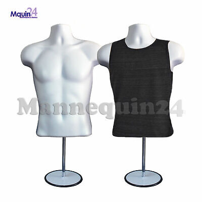 2 Pack Male Mannequin Form Hanger Stand - White Torso Body Form For T Shirt