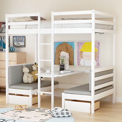 Twin Bunk Loft Bed over Desk with Ladder Kids Teen Bedroom White Wood Furniture Furniture Twin Bed